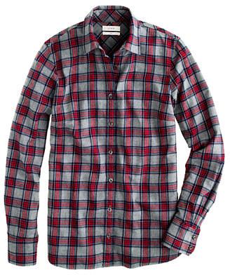 J.Crew Petite boy shirt in grey tartan