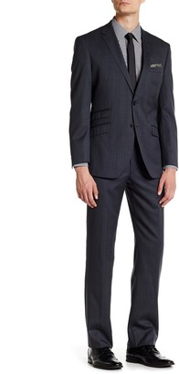 English Laundry Trim Fit Charcoal Check Two Button Notch Lapel Wool Suit