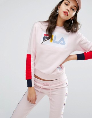 Fila Relaxed Sweatshirt With Deconstructed Sleeves $83 thestylecure.com