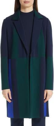 St. John Colorblock Intarsia Wool Twill Jacket