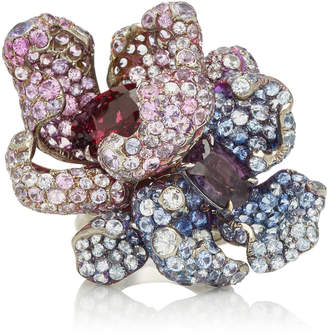 Arunashi One-Of-A-Kind Sapphire Flower Ring