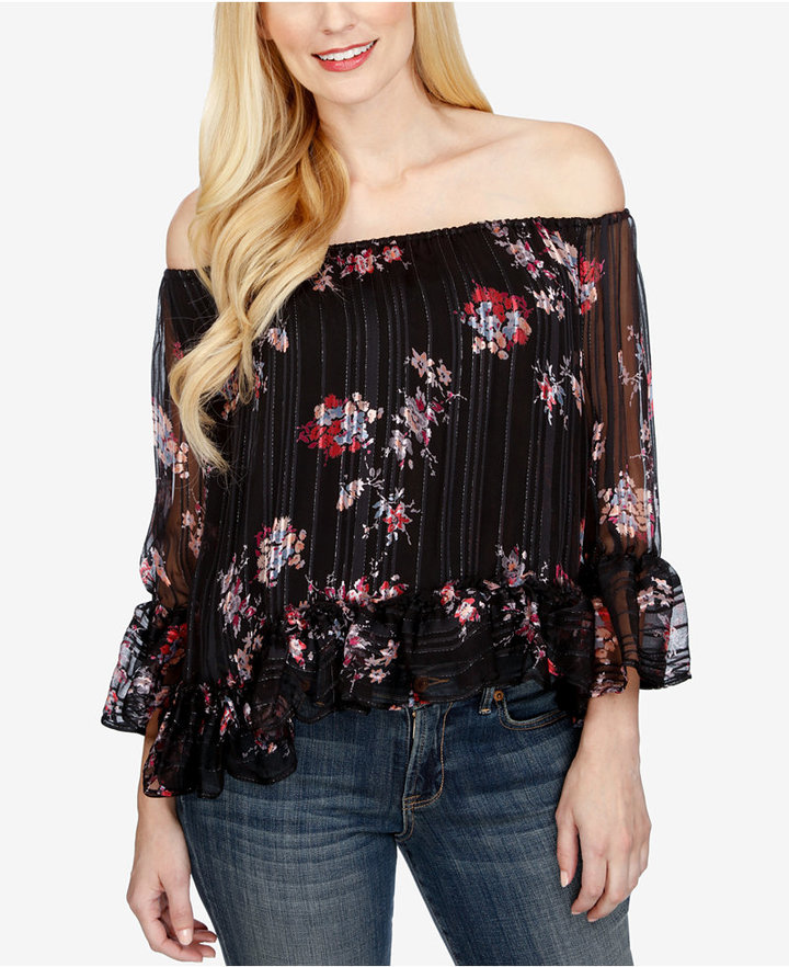 Lucky Brand Printed Off-The-Shoulder Top