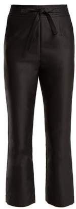 Isa Arfen Tie Waist Straight Leg Satin Cropped Trousers - Womens - Black