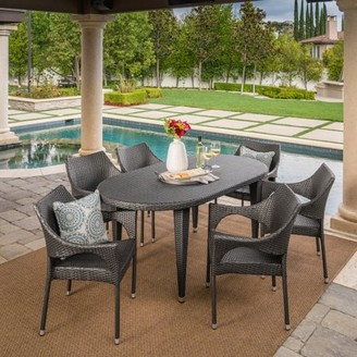 Noble House Analia Outdoor 7 Piece Wicker Oval Dining Set with Stacking Chairs, Grey