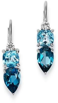 Bloomingdale's Diamond, Swiss Blue Topaz & London Blue Topaz Drop Earrings in 14K White Gold - 100% Exclusive