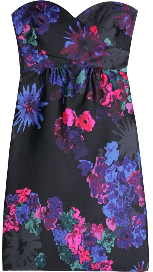 Tibi SILK MINI DRESS WITH FLORAL PRINT