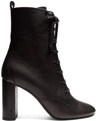 Loulou lace-up grained-leather ankle boots