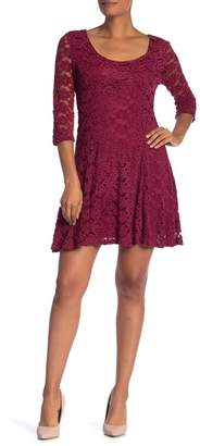 Papillon 3/4 Length Sleeve Lace Knit Dress