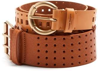 Maison Margiela Perforated Double Leather Belt - Womens - Tan