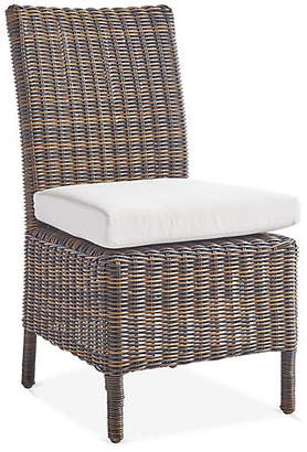 Del Ray Wicker Dining Side Chair - Chestnut/Canvas - South Sea Rattan