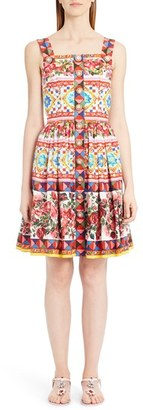 Women's Dolce&gabbana Print Poplin Full Skirt Sundress $2,445 thestylecure.com