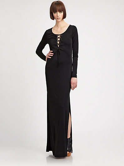 L'AGENCE Long Lace-Up Dress