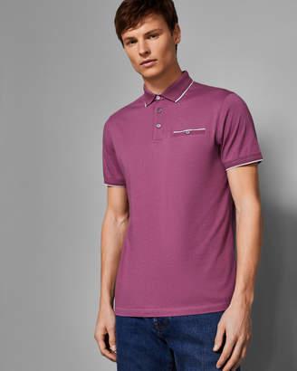 Ted Baker FREEDAM Flat knit cotton blend polo shirt