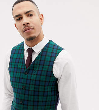 Asos DESIGN Tall wedding skinny suit vest in blackwatch plaid