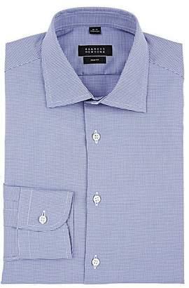 Barneys New York Men's Houndstooth Cotton Shirt - Navy