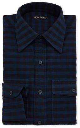 Tom Ford Men's Plaid Point-Collar Dress Shirt