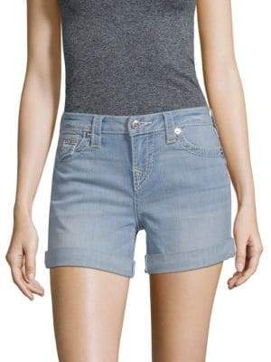 True Religion Folded-Cuffs Denim Shorts