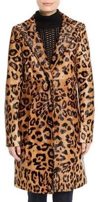 Elie Tahari Angelina Leopard-Print Calf Hair Coat