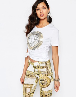 Versace Jeans T-Shirt With Gold Wave Logo $114 thestylecure.com