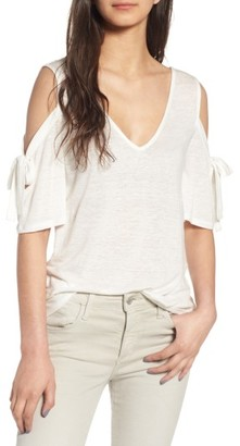 Women's Hinge Bow Cold Shoulder Tee $39 thestylecure.com