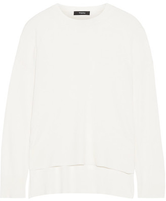 Theory - Karenia Silk-blend Sweater - White $295 thestylecure.com