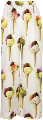 Dolce & Gabbana: Cream/multicolor Ice-cream Print Pajama Trousers $890 thestylecure.com