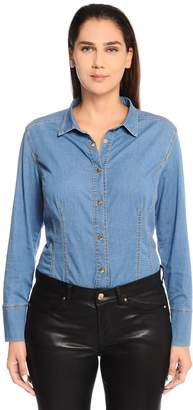 Marina Rinaldi Cotton Denim Shirt W/ Grosgrain Bow