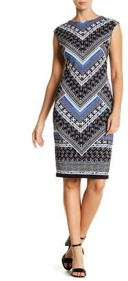 Vince Camuto Extended Cap Sleeve Geometric Dress