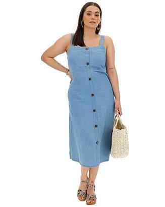 Fashion World Button Front Denim Strappy Midi Dress