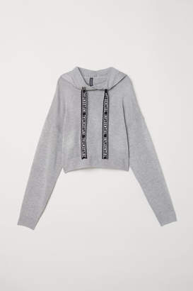 H&M Fine-knit Hooded Sweater - Gray