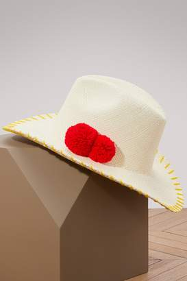Sensi Studio Cowboy panama hat with pom-poms