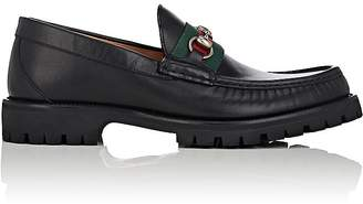 Gucci Men's Web-Striped Horse-Bit Leather Loafers