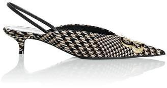 Balenciaga Women's Checked Tweed Slingback Pumps