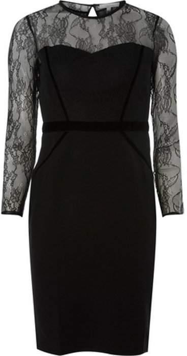 Womens Petite Black Lace Trim Dress