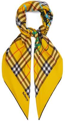 Burberry Vintage Check Scribble Printed Silk Square Scarf - Womens - Yellow