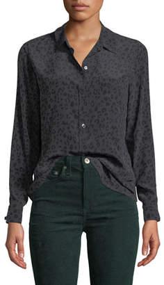 Rails Kate Leopard-Print Silk Button-Down Top