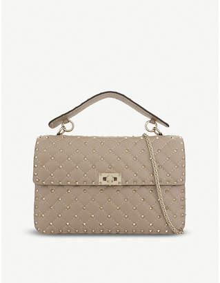 Valentino Rockstud large leather shoulder bag, Poudre