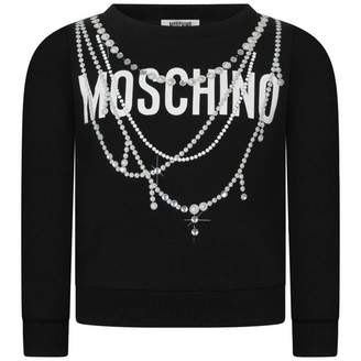 Moschino MoschinoGirls Black Diamante Necklace Sweater