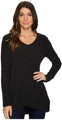 Mod-o-doc Poorboy Rib Sweater Double Layer Hem Long Sleeve Sweater Women's Sweater