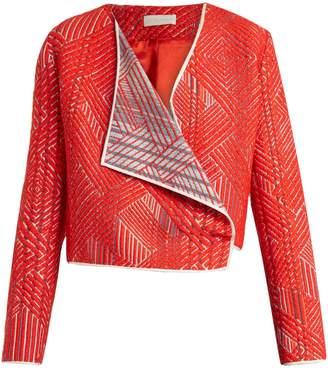 CARL KAPP Scarlet draped woven cropped jacket
