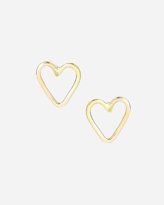 Express One Six Five Gold Heart Stud Earrings