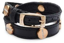 CC Skye Crystal Studded Double-Wrap Leather Bracelet