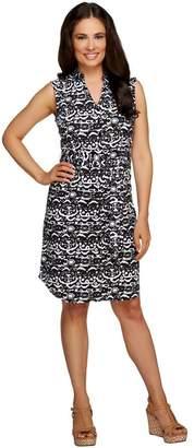 Liz Claiborne New York Printed Button Down Dress w/ Tie