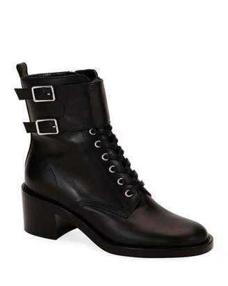 Gianvito Rossi Calf Leather Side-Zip Combat Booties
