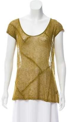 Donna Karan Short Sleeve Scoop Neck Top