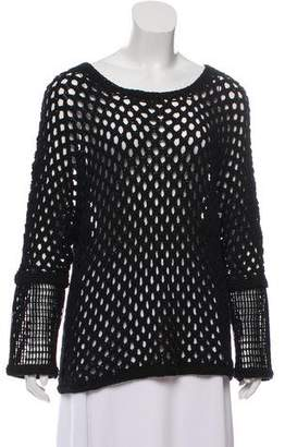 Yigal Azrouel Open Knit Scoop Neck Sweater