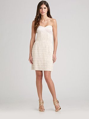 Aidan Mattox Strapless Fringe Cocktail Dress