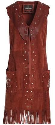 Roberto Cavalli Fringe-Trimmed Leather-Paneled Studded Suede Vest
