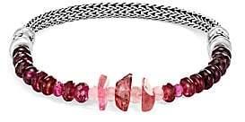 John Hardy Chain Silver & Pink Tourmaline, Purple and Pink Garnet Fox Tail Bracelet