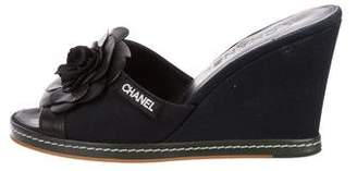 Chanel Camellia Wedged Sandals